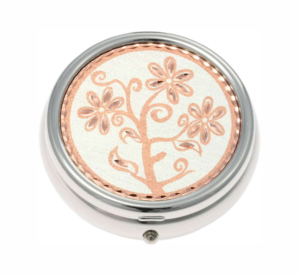 Buy Elegant Pill Boxes Handmade in Flower Design from Copper With Silver Background