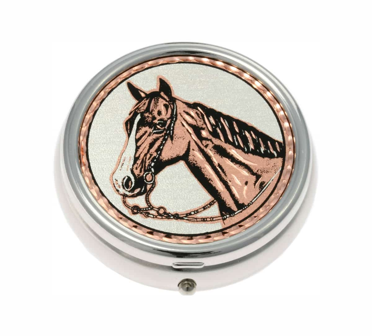 Buy Western Horse Head Handmade Copper Artwork Decorated Stylish Pill Boxes