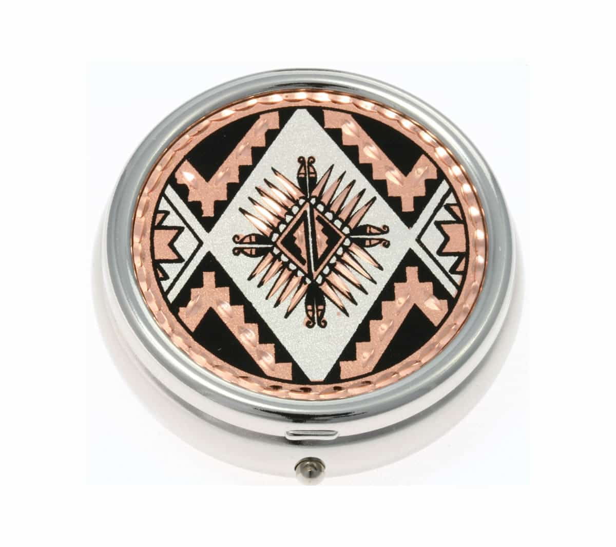 SW Native American sunburst handcrafted copper artwork decorated silver plated pill boxes