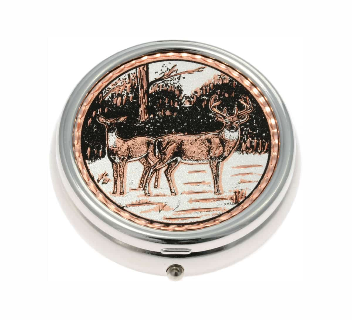 Buy Handmade Deer Copper Artwork Decorated Stylish Pill Boxes
