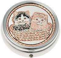 Buy Exquisite Two Cute Kittens in a Basket Pill Boxes, Special Handmade Gifts for Women