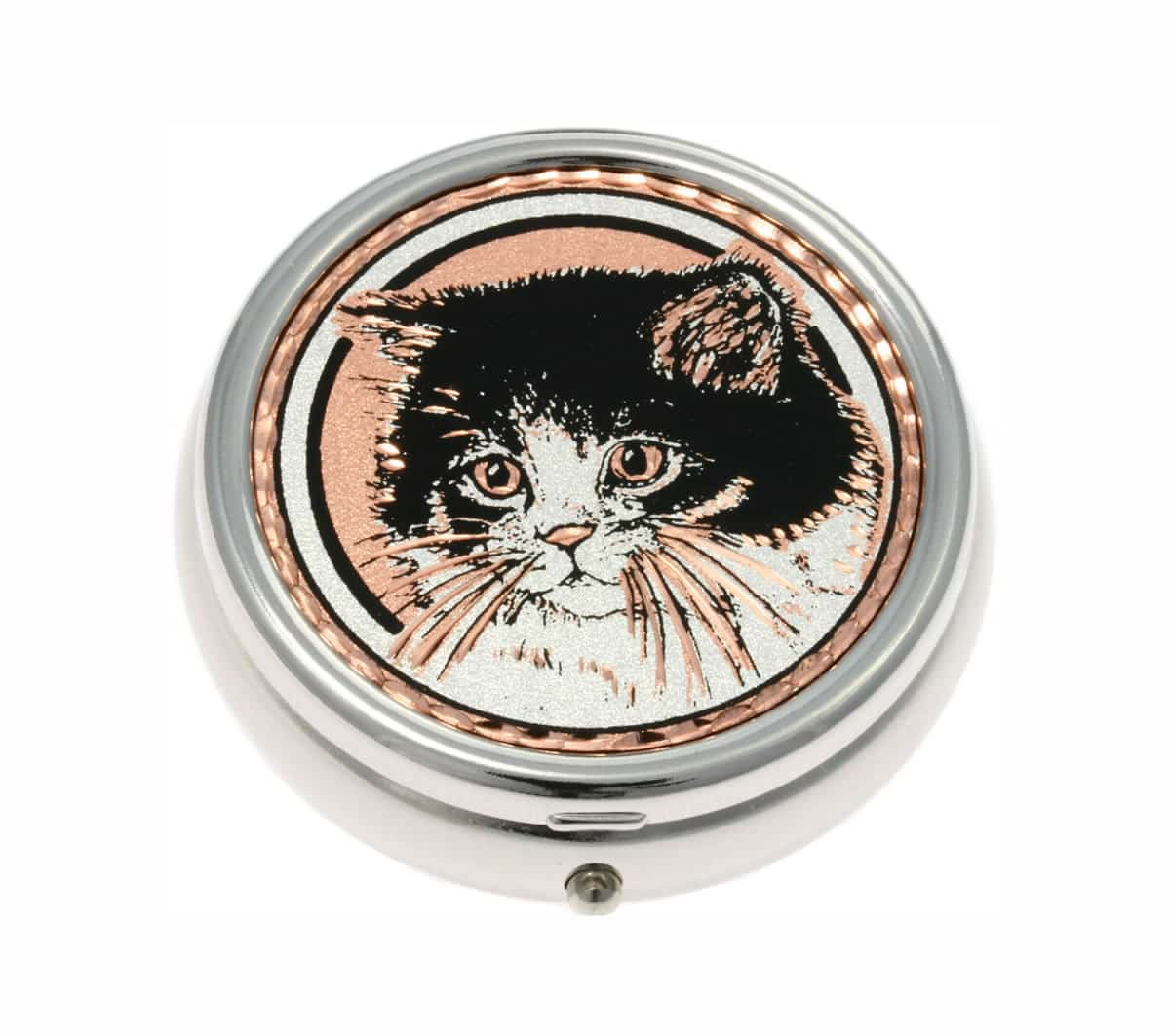 Lovely Cat Handmade Copper Artwork Decorated Silver Plated Pill Boxes