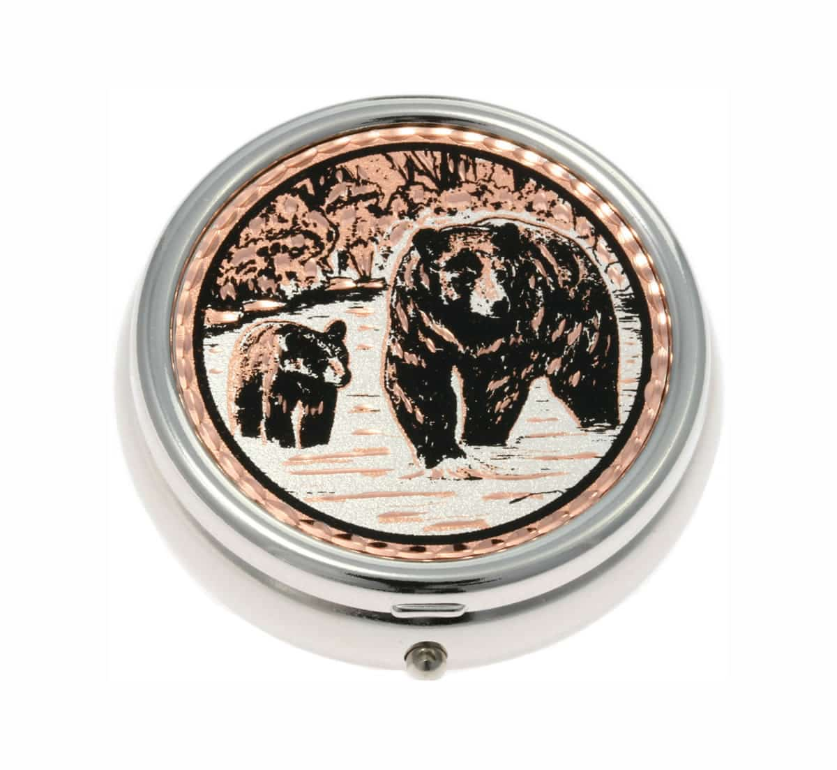 Buy silver plated decorative pill boxes embellished with cub and black bear designs made from copper
