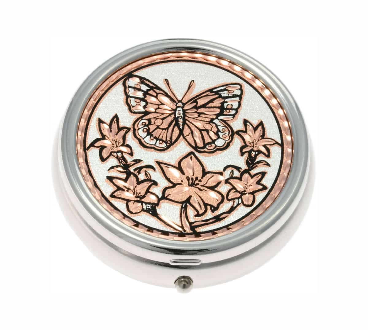 Handmade Copper Butterfly Artwork Decorated Silver Color Pill Boxes