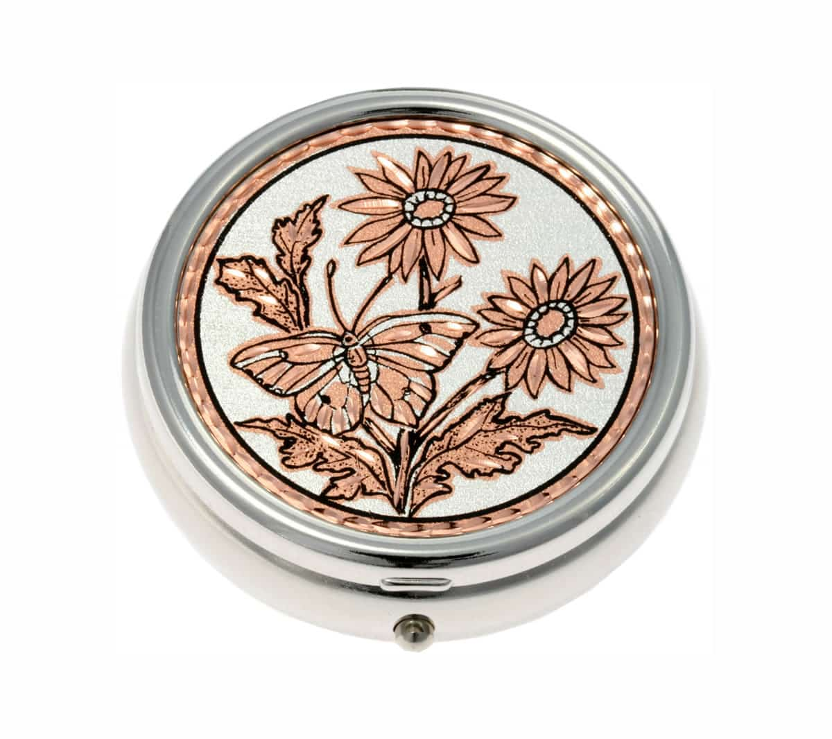 Purchase elegant butterfly handmade copper artwork embellished silver plated pill boxes