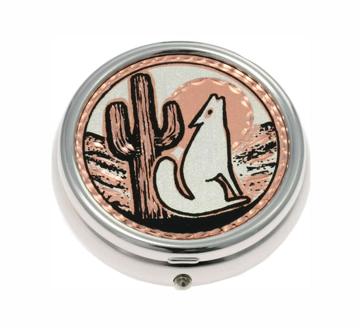 Buy Silver Color Pill Boxes Embellished with Desert Scene and Coyote Copper Artwork