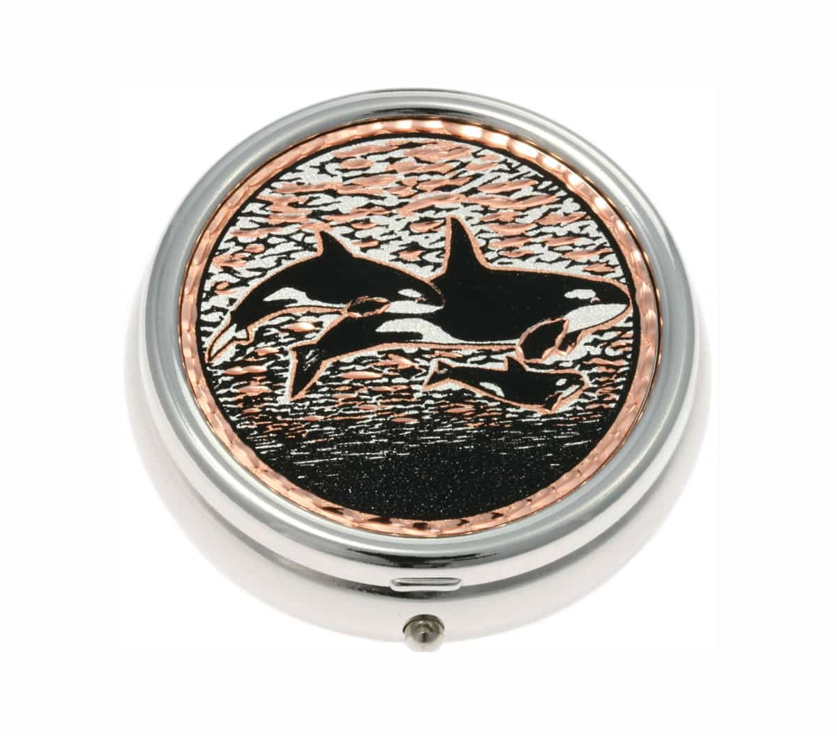 Unique and Elegant Silver Color Pill Boxes Decorated with Killer Whale Copper Artwork