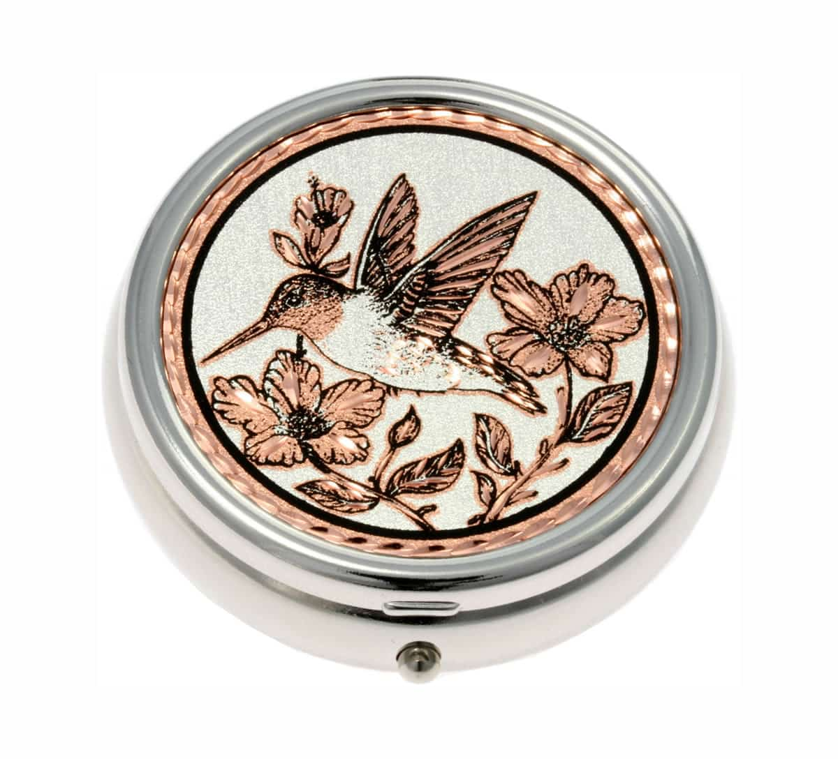 Silver Color Pill Boxes Embellished with Hummingbird Copper Artwork
