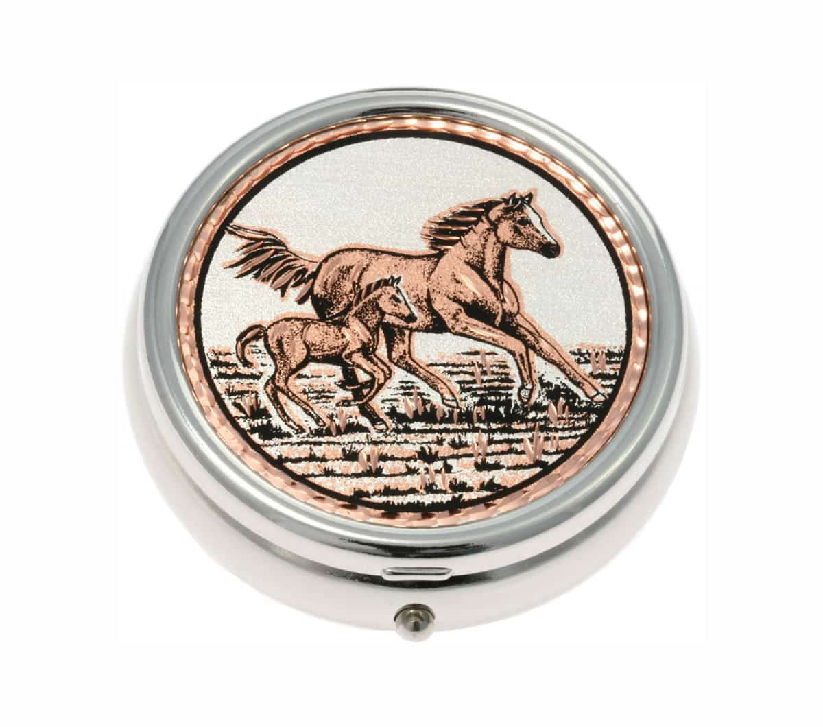 Handmade Copper Foal and Horse Artwork Decorated Silver Color Pill Boxes