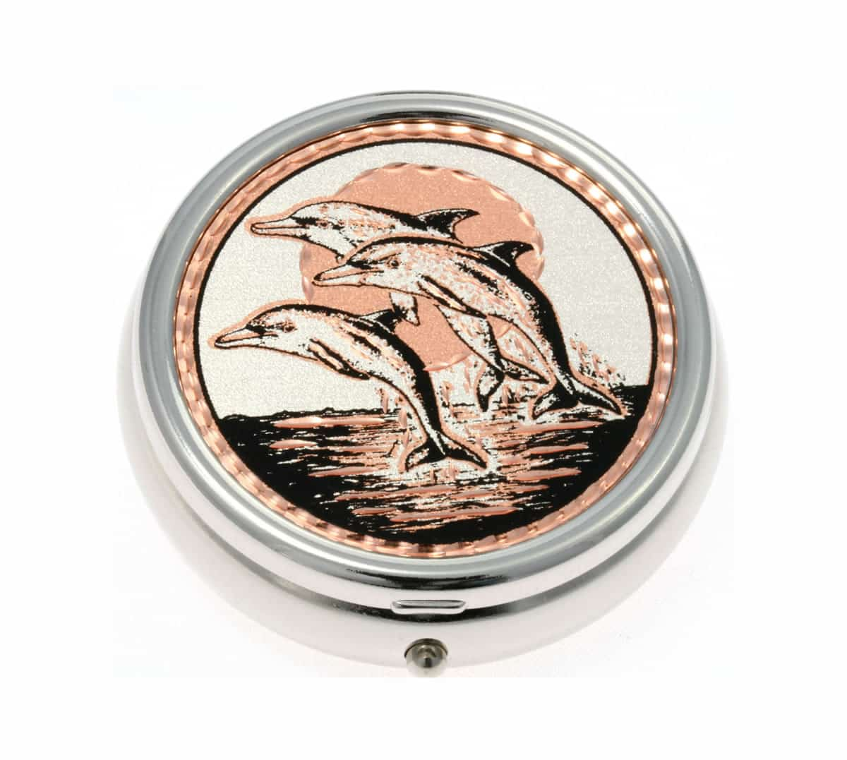 Silver Color Pill Boxes Embellished with Dolphin Copper Artwork