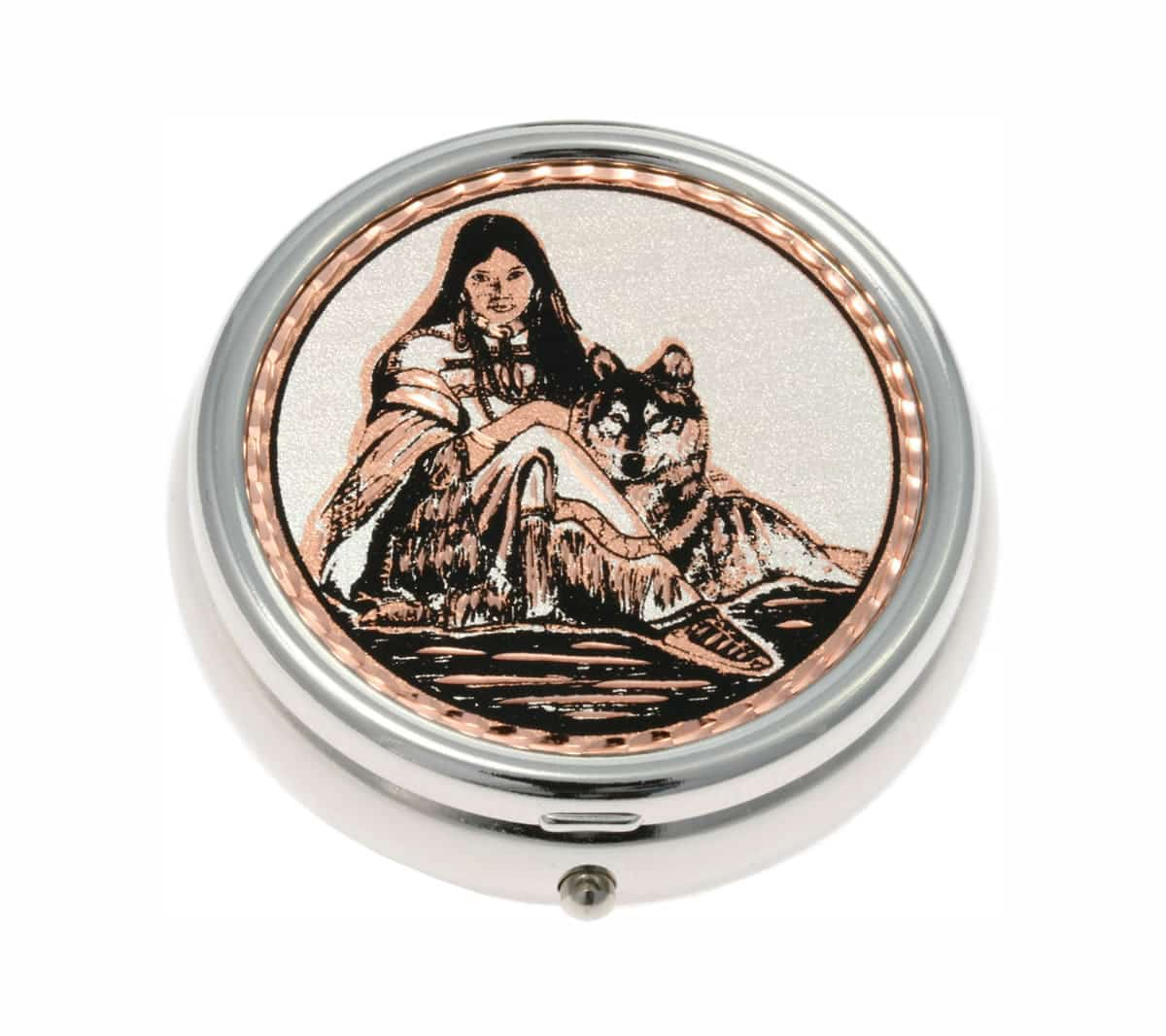 Unique Handmade Gift Ideas for Women, Native American Indian Lady with Wolf Pill Boxes