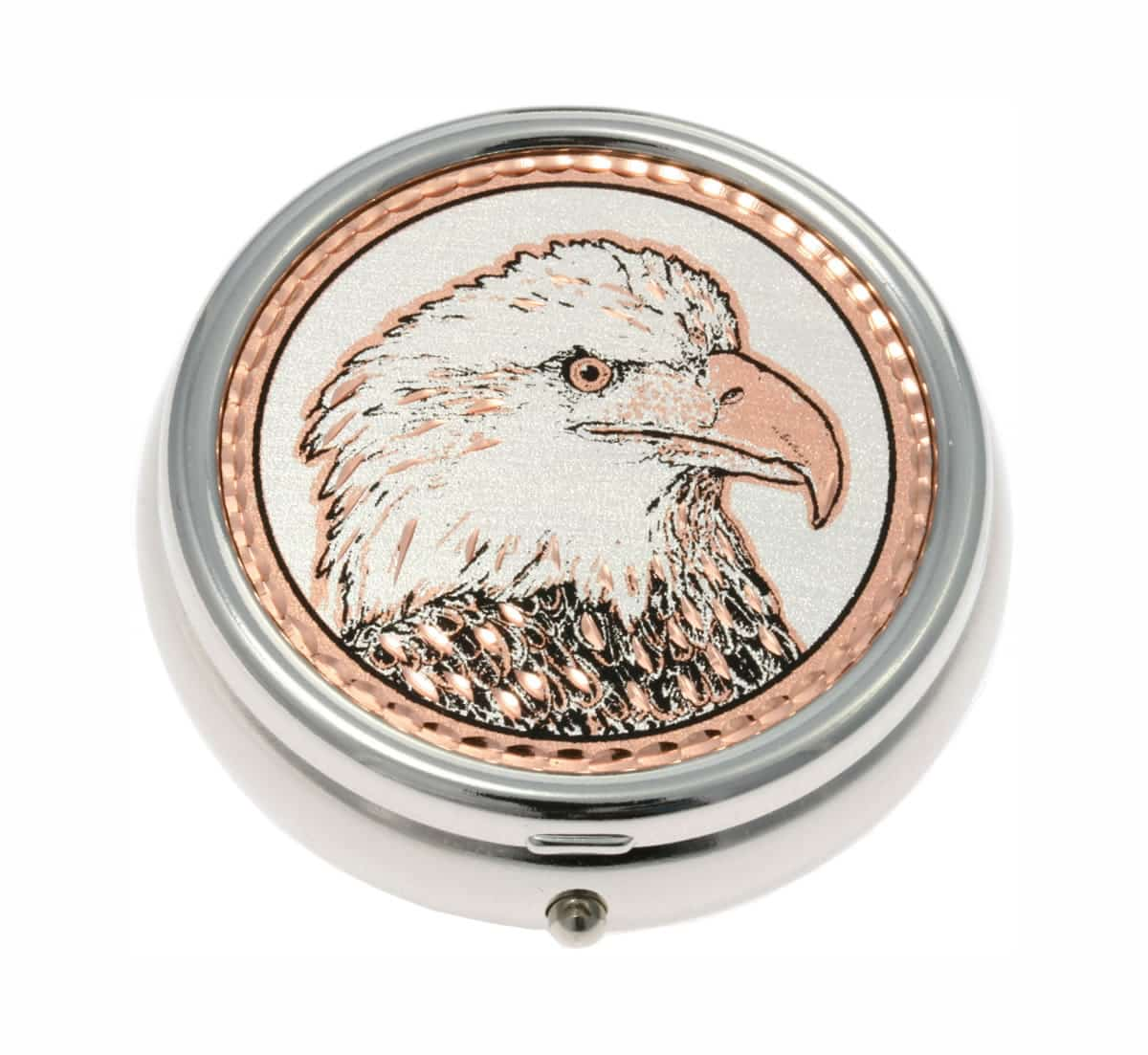 Silver Color Pill Boxes Embellished with American Eagle Copper Artwork