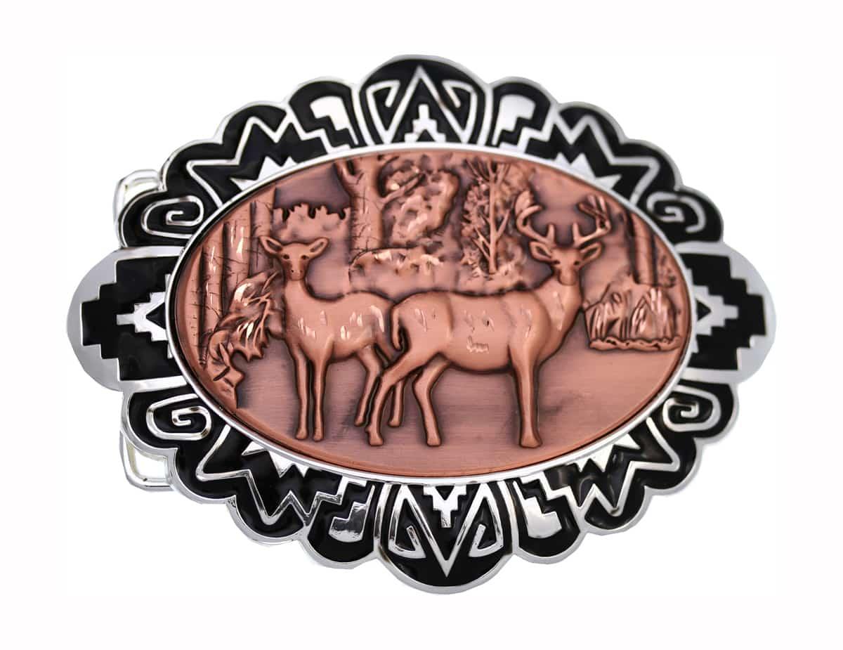 Buy Cowboy Belt Buckles with Embossed Deer Copper Designs