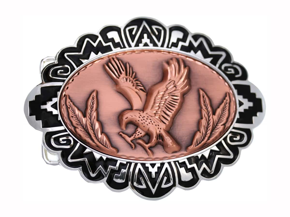 Buy Cowboy Belt Buckles with Embossed Eagle Copper Designs