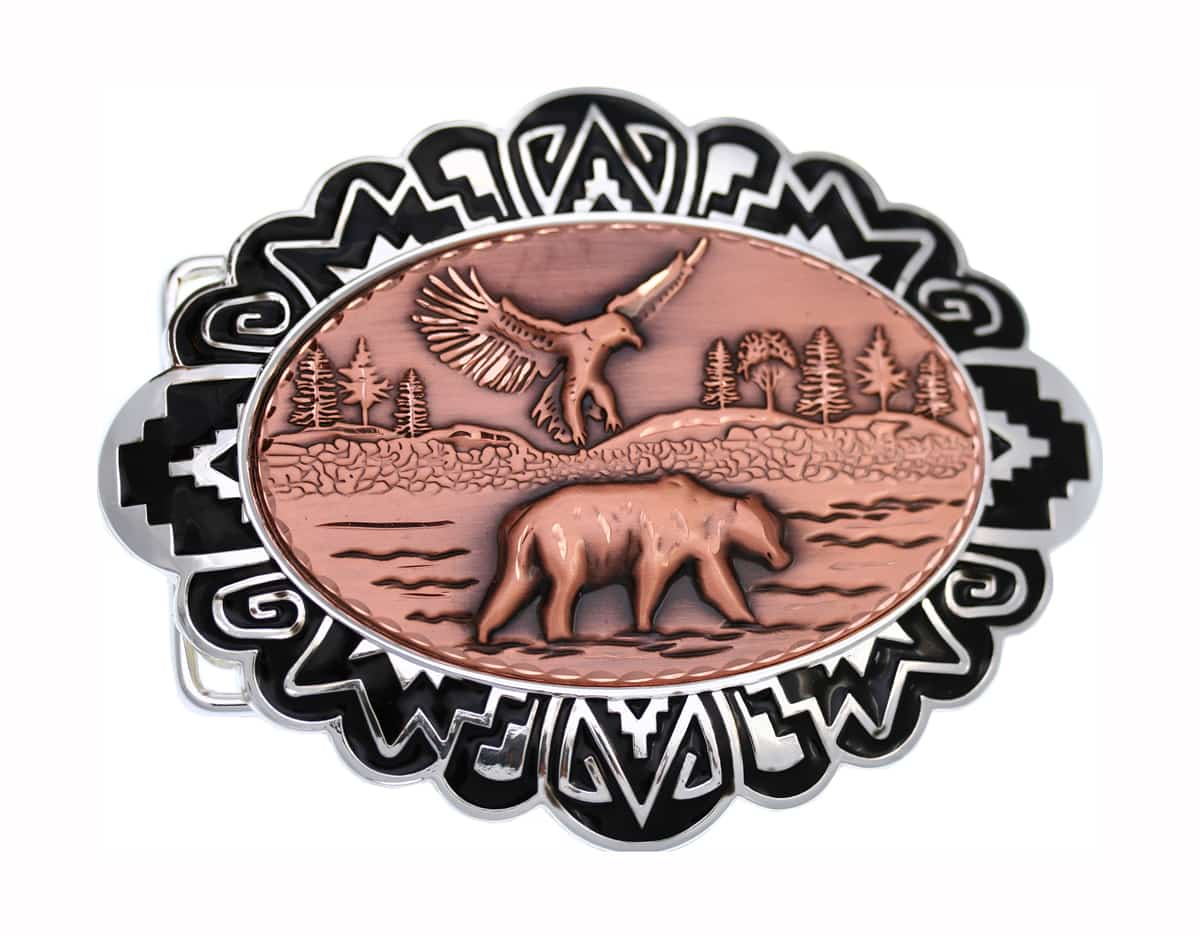 Wholesale Western Belt Buckles with Copper Embossed Bear and Eagle Designs