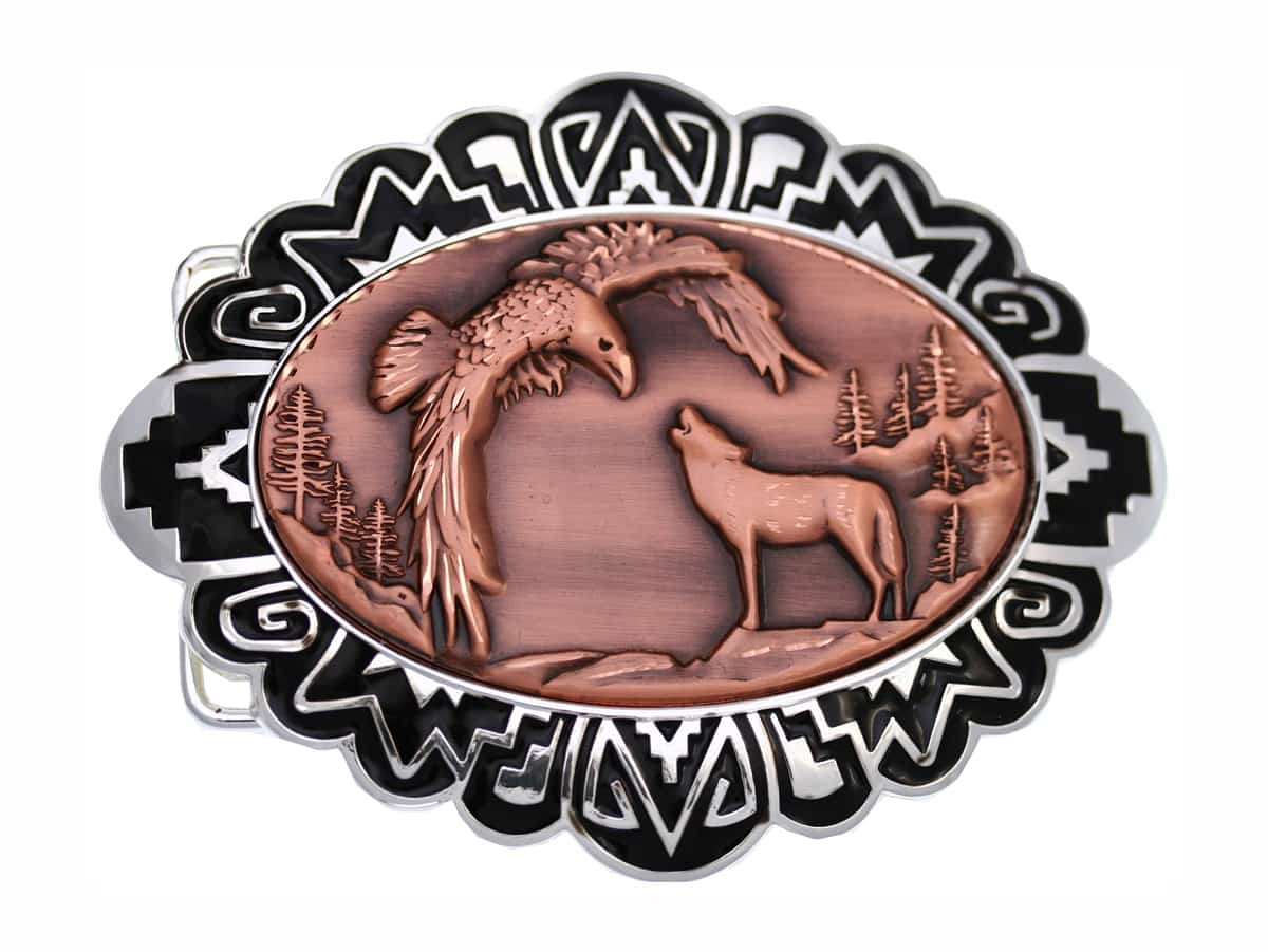 Wolf and Eagle Embossed Copper Decorated Western Belt Buckles for Men