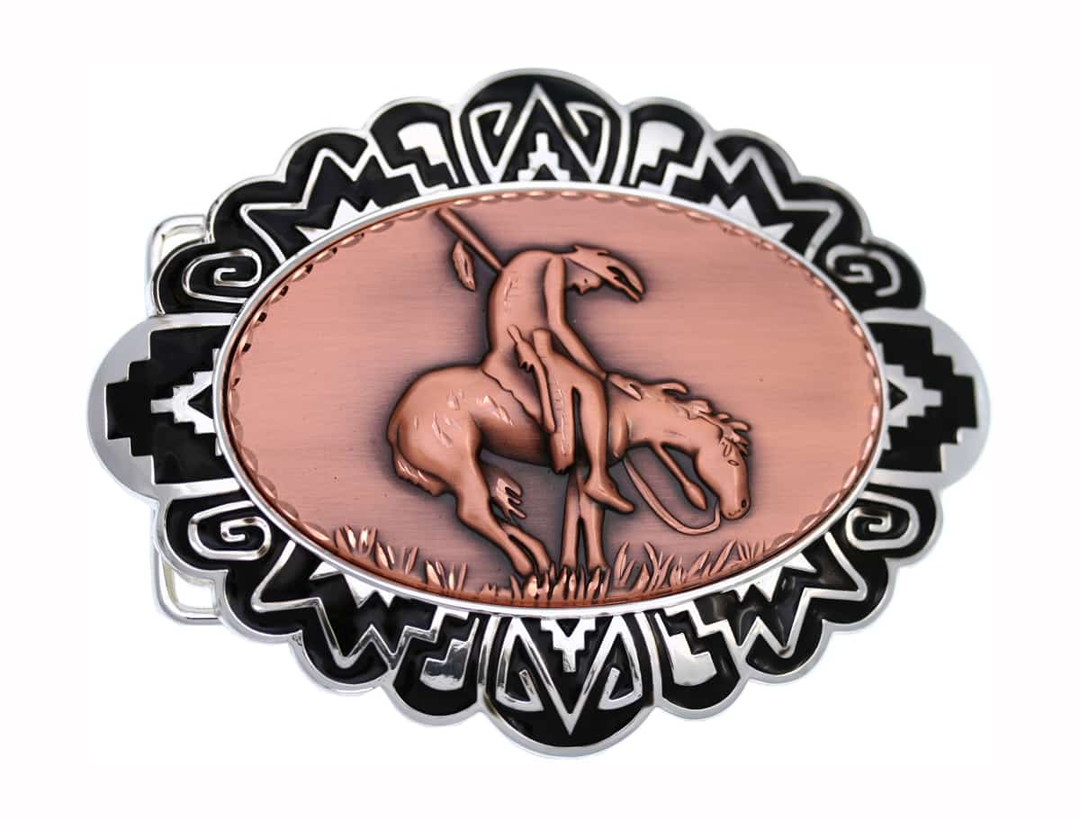 Buy Cowboy Belt Buckles with Embossed End of the Trail Copper Designs