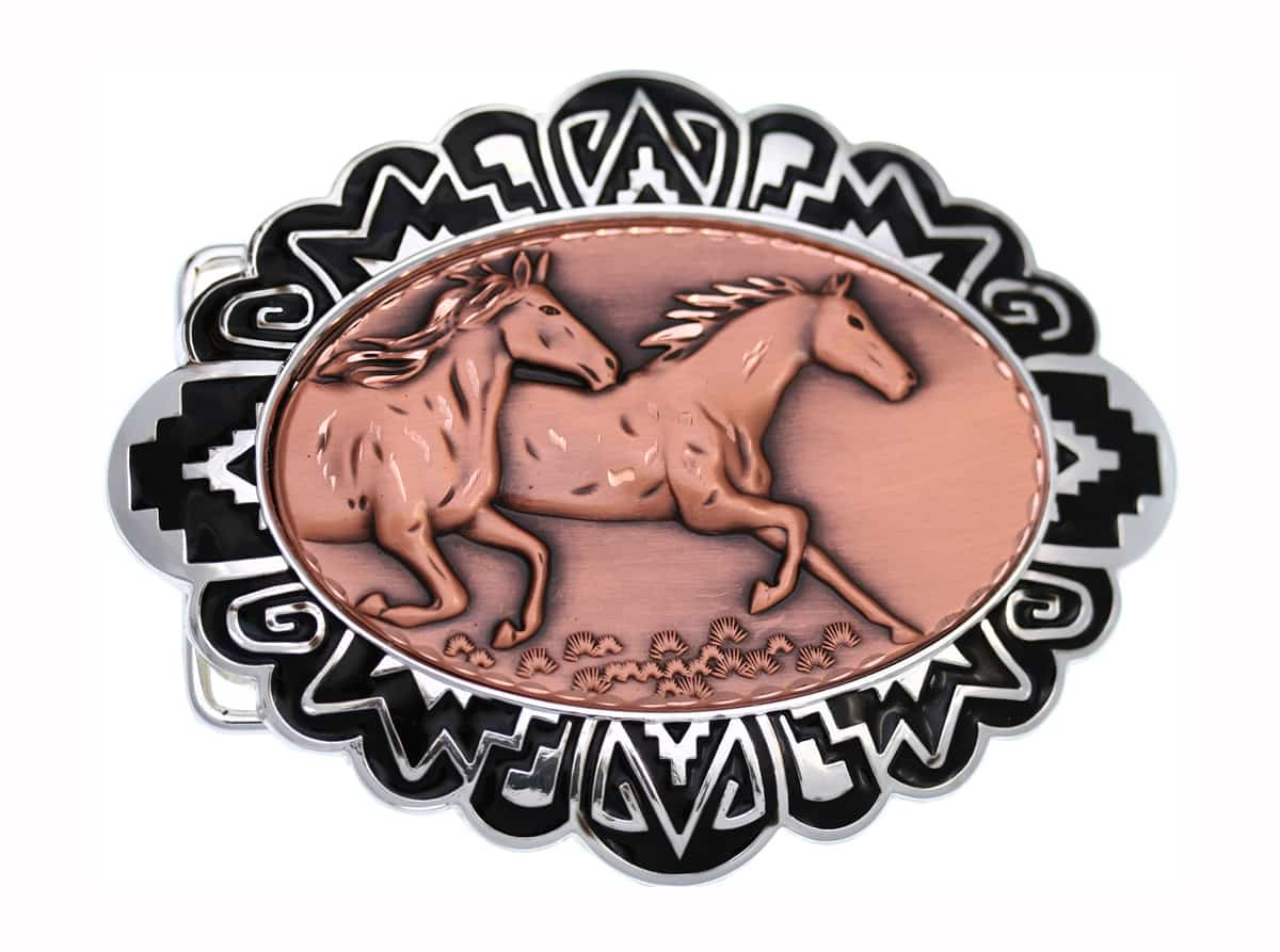 Copper Embossed Wild Horses Insets Decorated Silver Color Western Belt Buckles