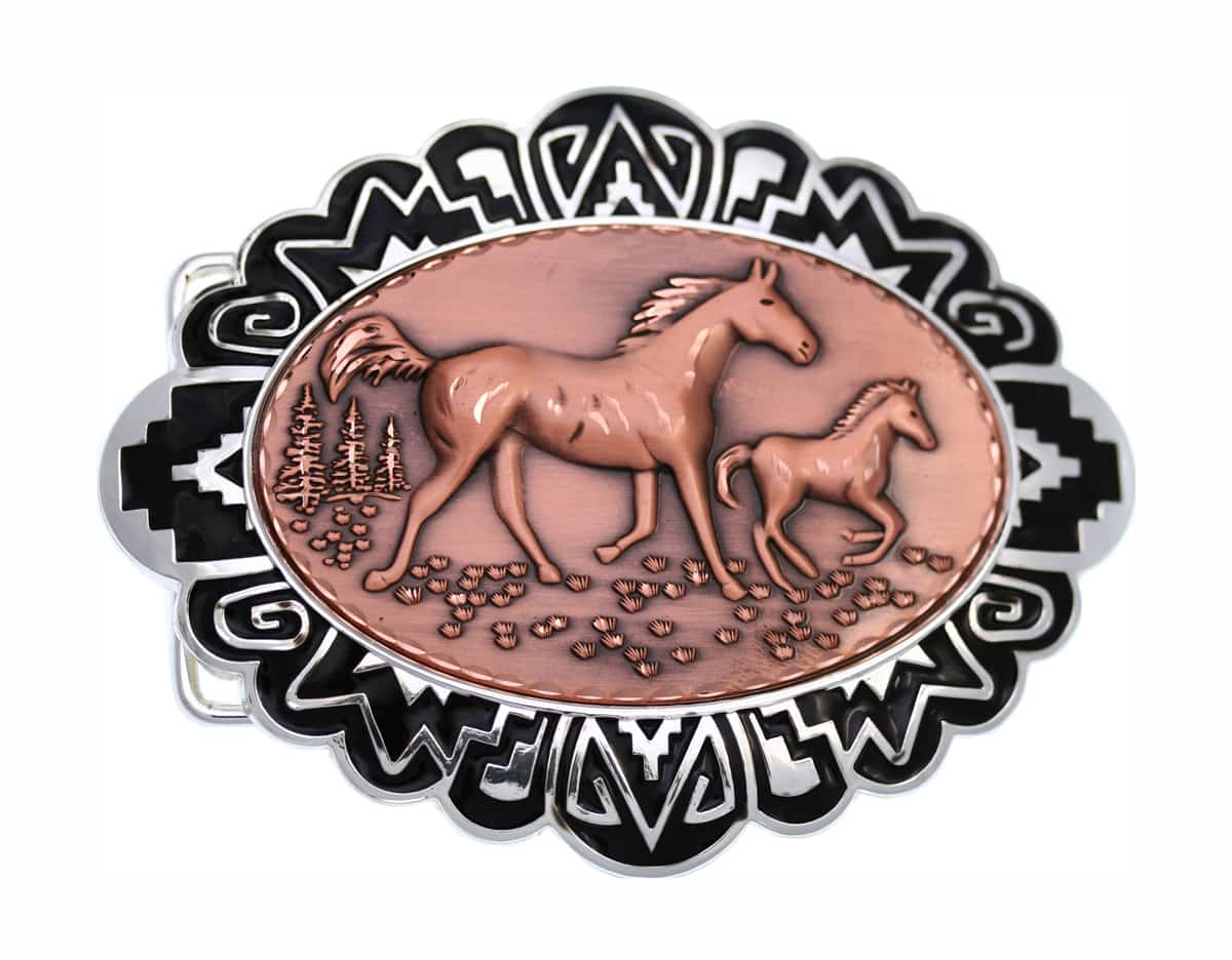 Copper Embossed Horses Insets Decorated Silver Color Western Belt Buckles