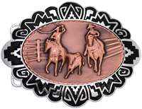 Rodeo Team Calf Roping Embossed Copper Decorated Western Silver Color Belt Buckles
