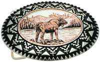 Silver Color Western Belt Buckles Embellished with Handmade Moose Copper Designs