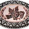 Silver Plated and Diamond Cut Native Haida Indian Eagle Copper Art Inset Into Silver Color Western Belt Buckles