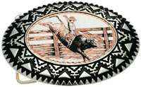 Copper Western Belt Buckles, Rodeo Bull Rider Cowboy Belt Buckles