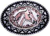 Silver Plated and Diamond Cut Horse Head Copper Art Inset Into Silver Color Western Belt Buckles