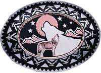 Buy Western Belt Buckles with Diamond Cut Copper Wolves Designs