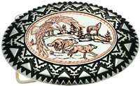 Buy Silver Color Western Belt Buckles Embellished with Handmade Eagle and Running Wolves Copper Artwork