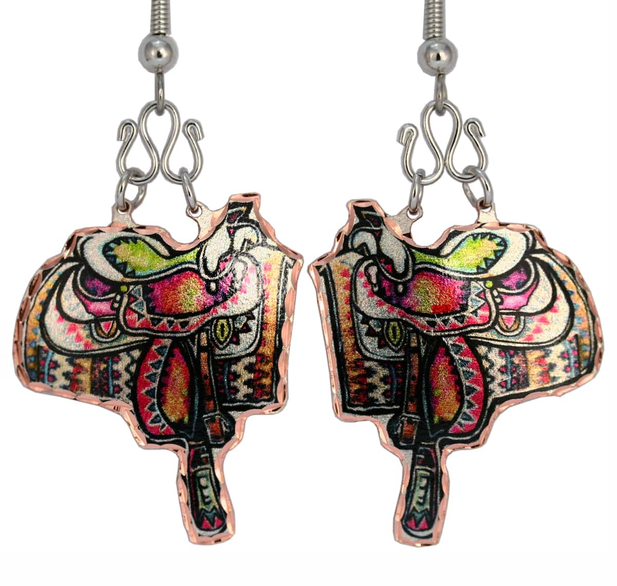 Colorful Western Saddle Earrings Embellished With Wires
