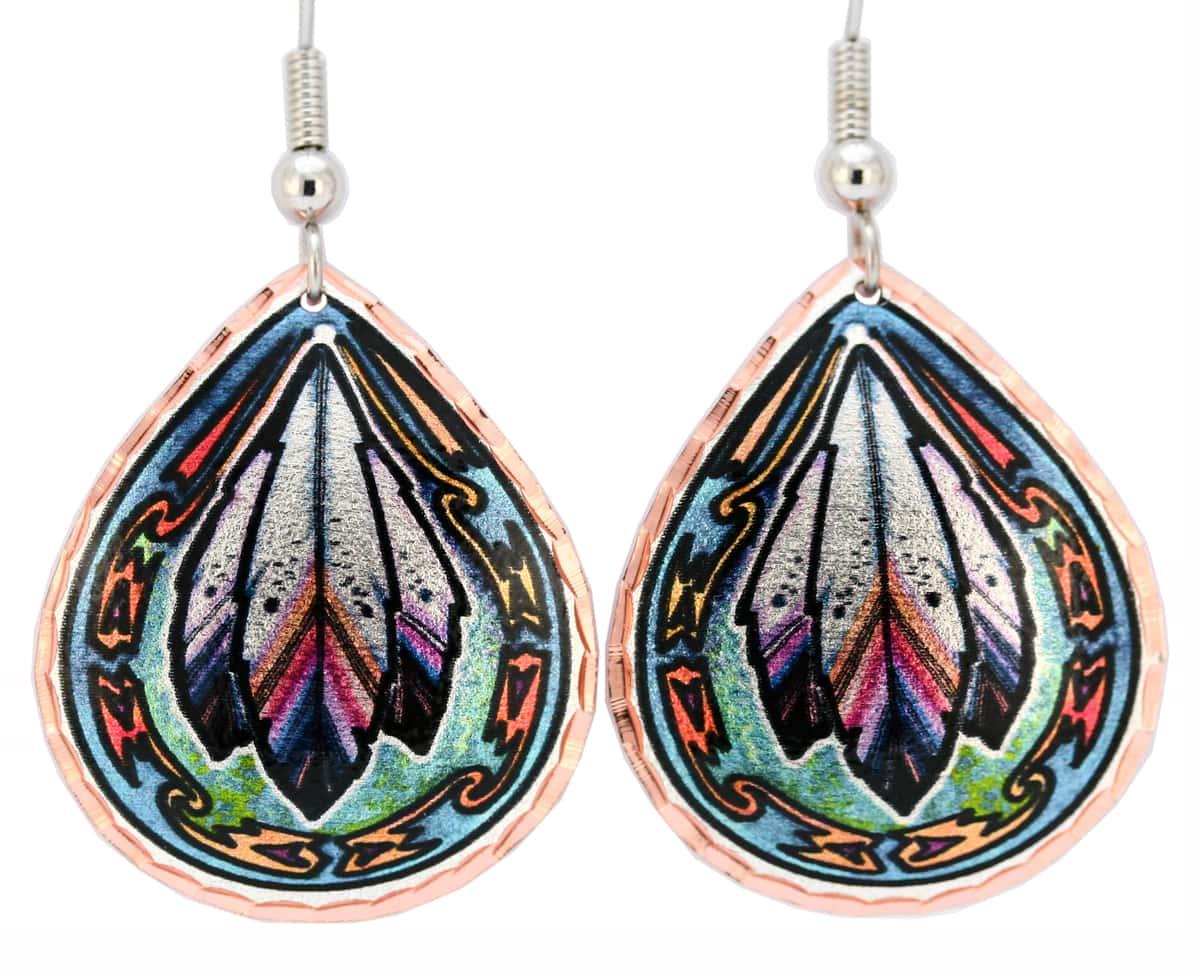 Western Art Jewelry, Teardrop Feathers Earrings