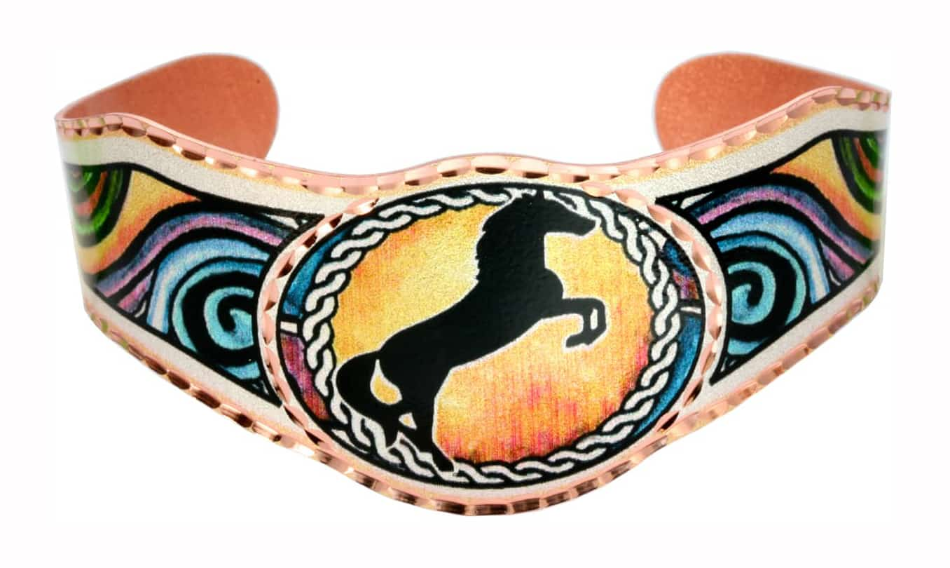 Accessorize your outfits with horse inspired art jewelry bracelets handmade by Copper Reflections artisans