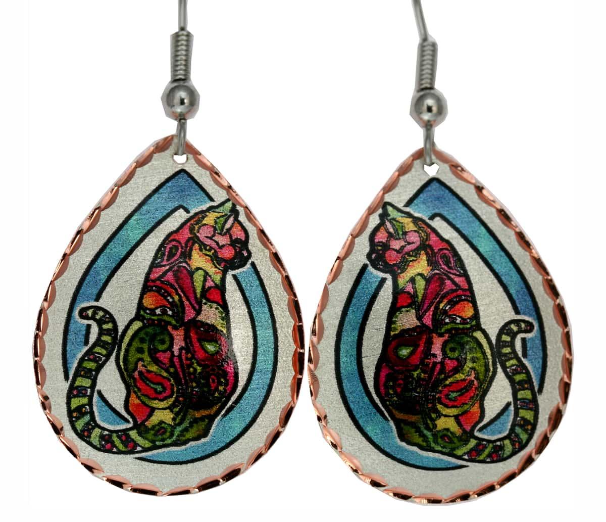 Whimsical Cat Earrings Designed by Jo Lynch