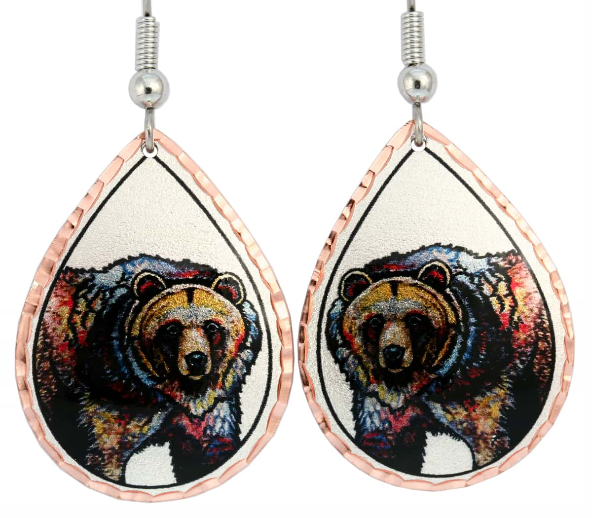 Wildlife Art Jewelry, Bear Earrings Created in Radiant Colors