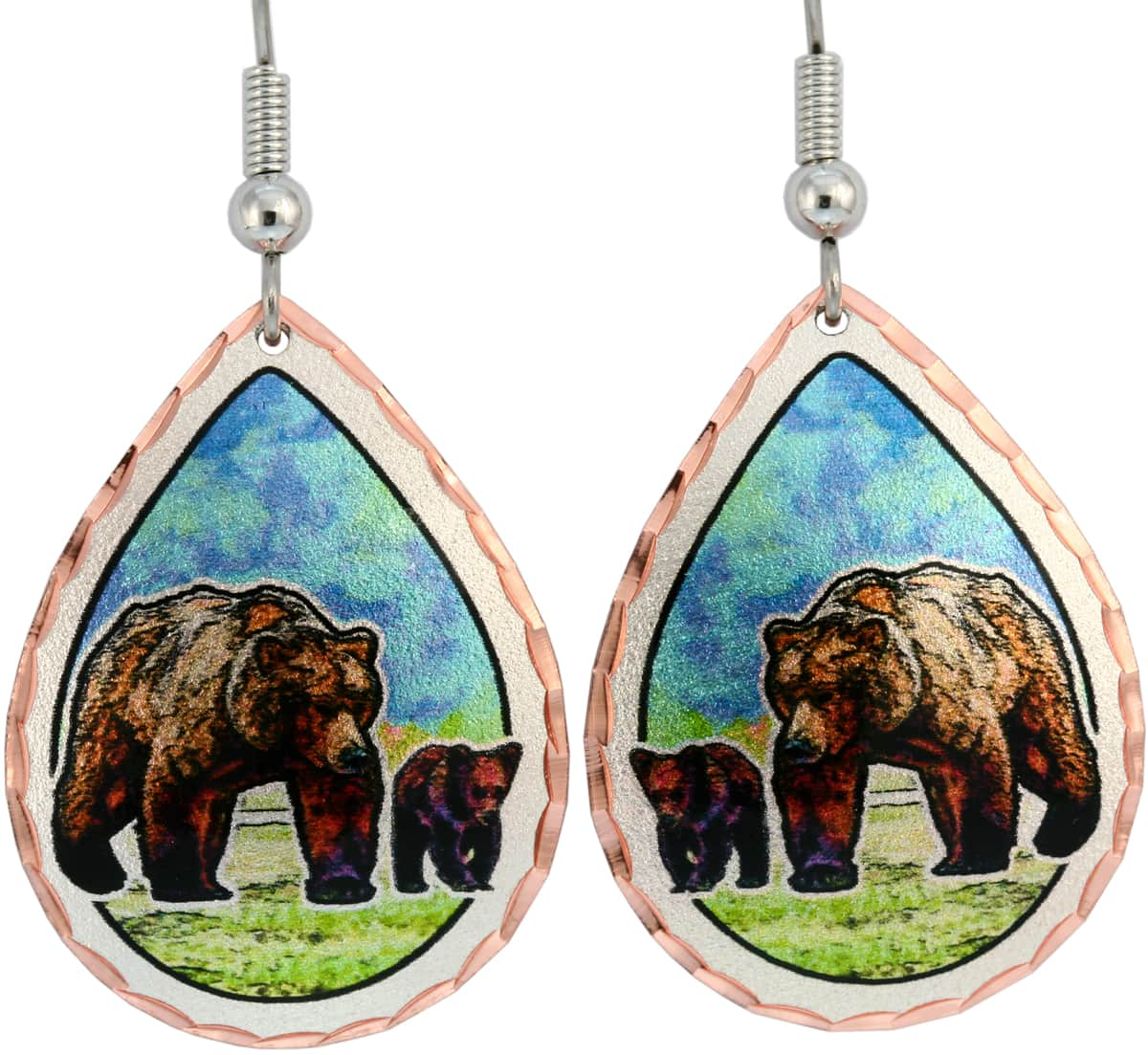 Wholesale wildlife jewelry earrings, bear earrings handmade from copper in vibrant colors to mak you smile