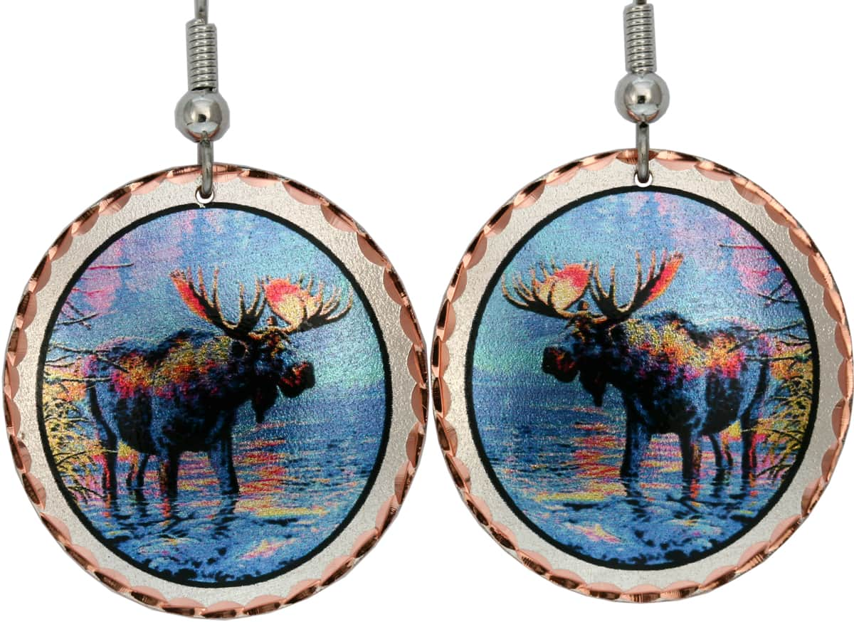 Wholesale wildlife jewelry earrings, colorful moose earrings