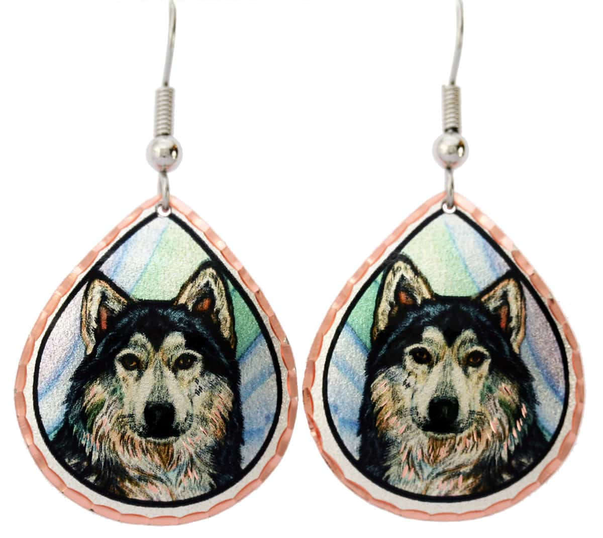 Timber Wolf Earrings, Colorful Wholesale Art Jewelry