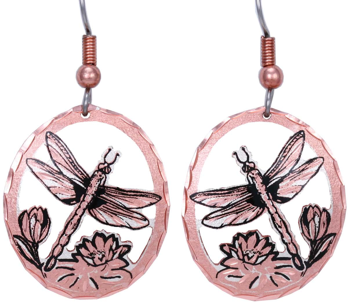 Cut out dragonfly earrings made from copper