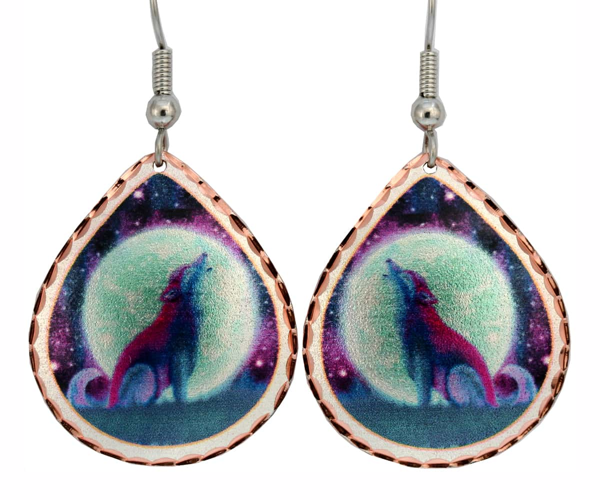 Whimsical Art Jewelry, Colorful Howling Wolf Earrings