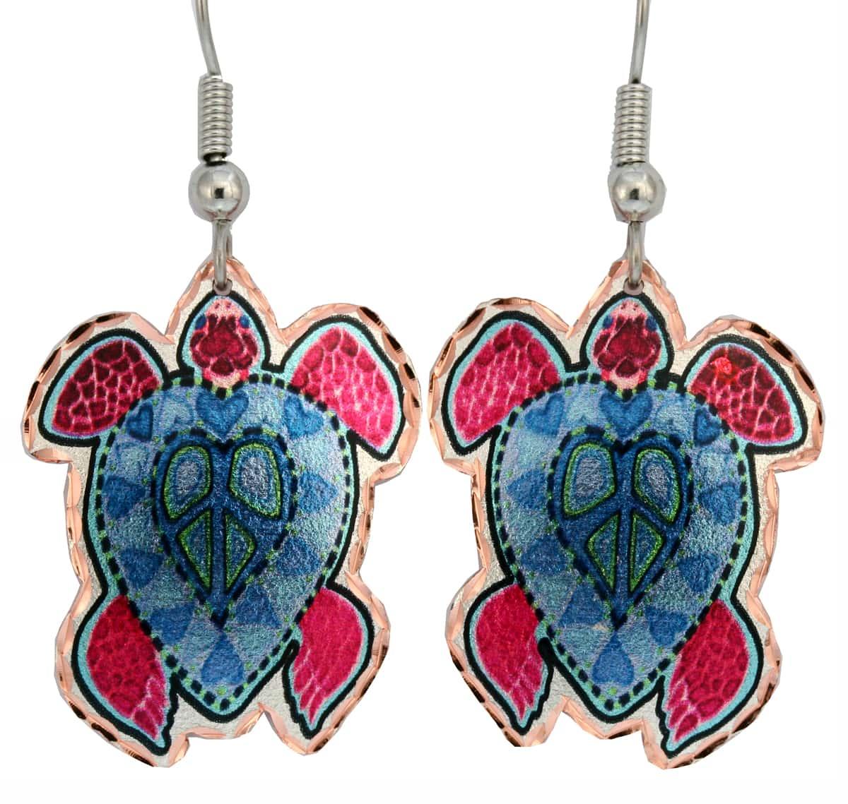 Colorful Peace Sign Sea Turtle Earrings