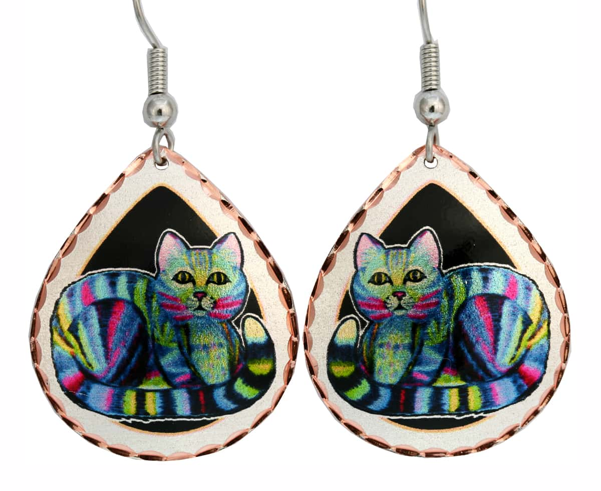 Colorful Striped Cat Earrings