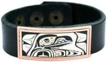 Northwest Native Raven Leather Bracelet