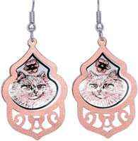 Unique Persian cat earrings handmade from copper
