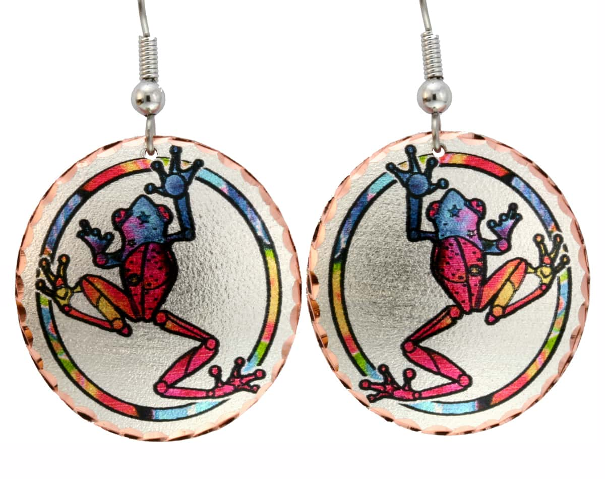 Frog Earrings Designed in Colorful Design