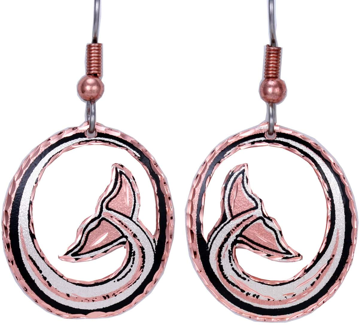 Cut out whale tail earrings handmade from copper with silver plating