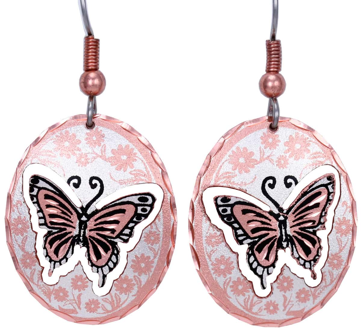 Copper handmade butterfly earrings