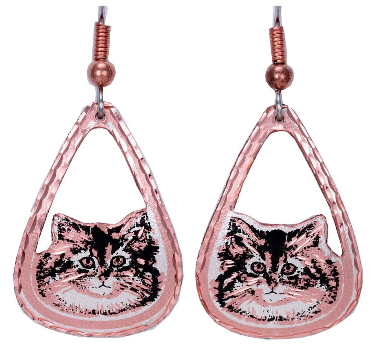 Cut Out Teardrop Cat Earrings