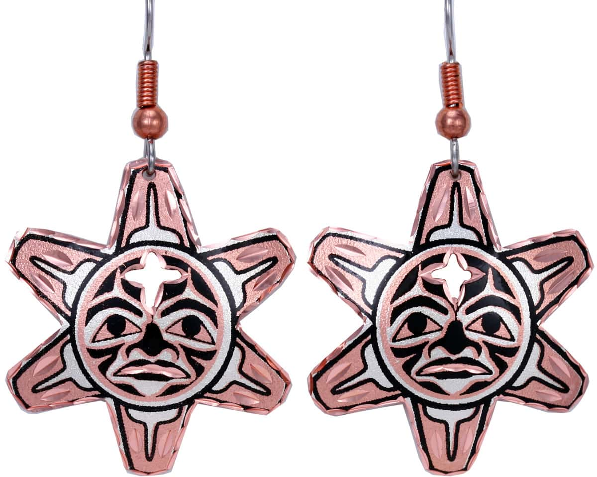 Cut Out NW Native Sun Totem Mask Earrings