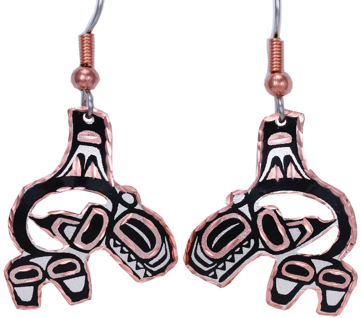 Cut Out NW Native Haida Whale Earrings
